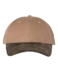 Khaki Canvas Crown Cap with Weathered Camo Visor