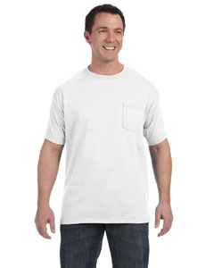 White Men's 6.1 oz. Tagless® ComfortSoft® Pocket T-Shirt