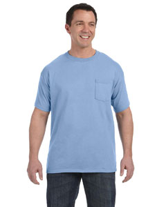 Light Blue Men's 6.1 oz. Tagless® ComfortSoft® Pocket T-Shirt
