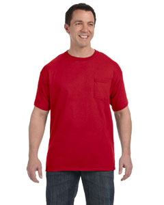 Deep Red Men's 6.1 oz. Tagless® ComfortSoft® Pocket T-Shirt