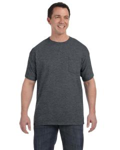 Charcoal Heather Men's 6.1 oz. Tagless® ComfortSoft® Pocket T-Shirt