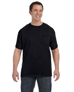 Black Men's 6.1 oz. Tagless® ComfortSoft® Pocket T-Shirt