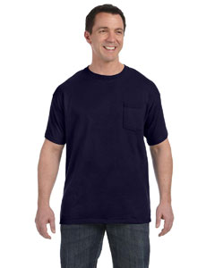Navy Men's 6.1 oz. Tagless® ComfortSoft® Pocket T-Shirt