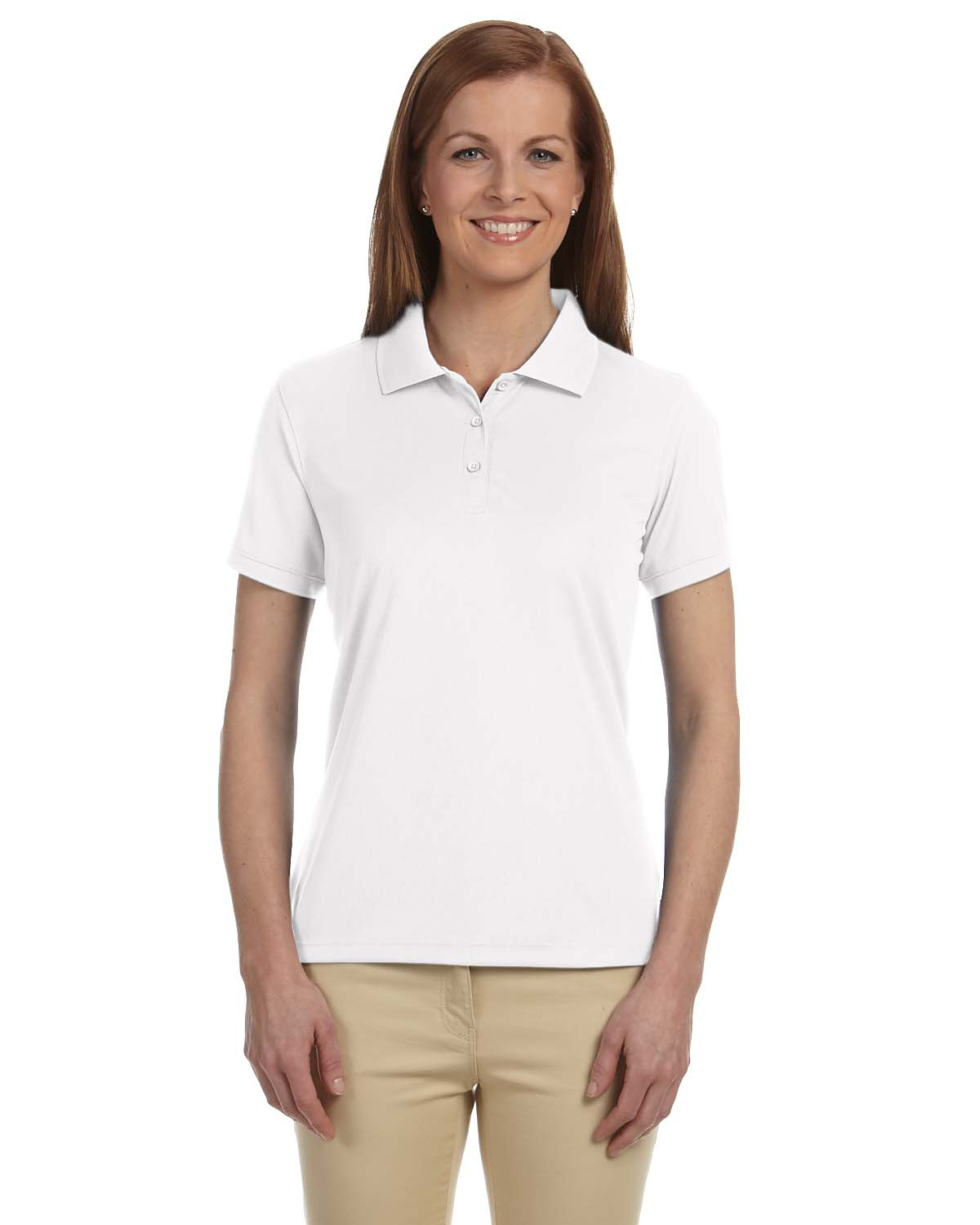 Devon Jones Dg385w Womens Solid Mesh Polo Shirtmax