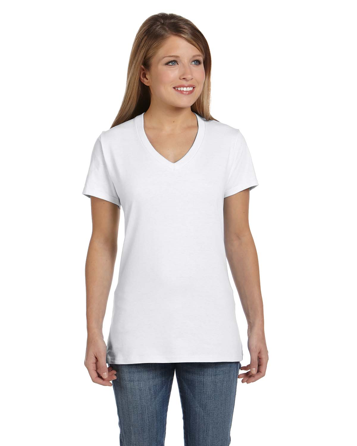 3fdbcf28 Hanes SO4V Women's Ringspun V-Neck T-Shirt - Shirtmax