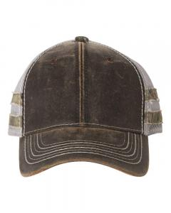 Brown/ Light Grey/ Country Frayed Camo Stripes Mesh-Back Cap
