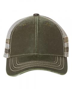 Olive/ Light Grey/ Country Frayed Camo Stripes Mesh-Back Cap