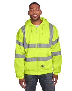 Hi Vis Yellow Mens Hi-Vis Class 3 Lined Full-Zip Hooded Sweatshirt