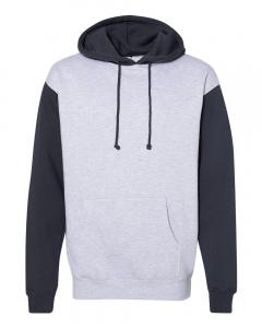 Grey Heather/ Slate Blue Heavyweight Hooded Sweatshirt