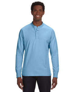 Blue Heather Men's Vintage Brushed Jersey Henley