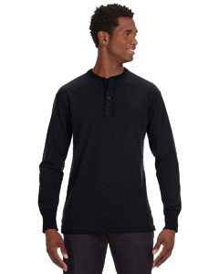 Black Men's Vintage Brushed Jersey Henley