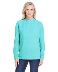 Turquoise Ladies' Weekend French Terry Mock Neck Crew