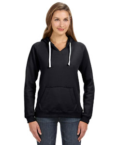 Black Ladies' Sydney Brushed V-Neck Hood