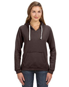 Chocolate Chip Ladies' Sydney Brushed V-Neck Hood