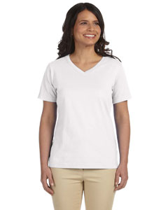 White Women's Combed Ringspun Jersey V-Neck T-Shirt