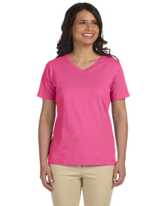 Raspberry Women's Combed Ringspun Jersey V-Neck T-Shirt