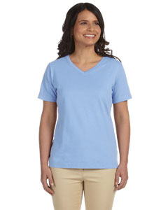 Light Blue Women's Combed Ringspun Jersey V-Neck T-Shirt