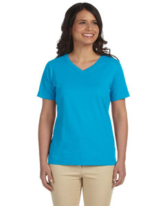 Turquoise Women's Combed Ringspun Jersey V-Neck T-Shirt