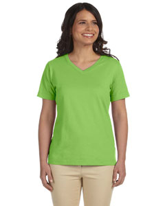 Key Lime Women's Combed Ringspun Jersey V-Neck T-Shirt