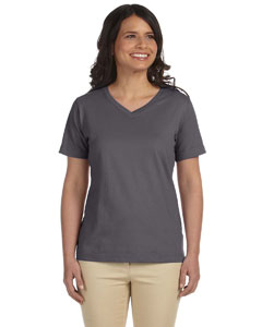 Charcoal Women's Combed Ringspun Jersey V-Neck T-Shirt