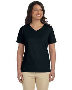 Black Women's Combed Ringspun Jersey V-Neck T-Shirt