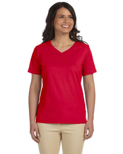 Red Women's Combed Ringspun Jersey V-Neck T-Shirt