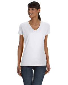 White Women's 5 oz., 100% Heavy Cotton HD™ V-Neck T-Shirt