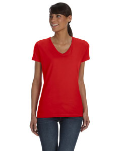 True Red Women's 5 oz., 100% Heavy Cotton HD™ V-Neck T-Shirt