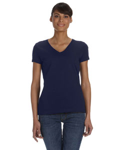 J Navy Women's 5 oz., 100% Heavy Cotton HD™ V-Neck T-Shirt