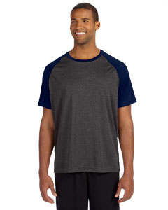 Dk Gry Hth/sp Nv Men's Performance Short-Sleeve Raglan T-Shirt