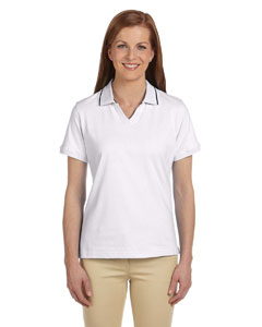 White/navy Women's 5.9 oz. Cotton Jersey Short-Sleeve Polo with Tipping