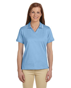 Horizon/white Women's 5.9 oz. Cotton Jersey Short-Sleeve Polo with Tipping