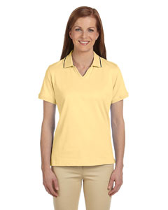 Straw/navy Women's 5.9 oz. Cotton Jersey Short-Sleeve Polo with Tipping