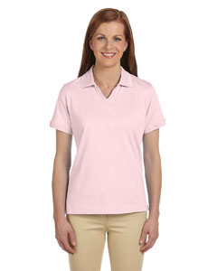 Blush/white Women's 5.9 oz. Cotton Jersey Short-Sleeve Polo with Tipping