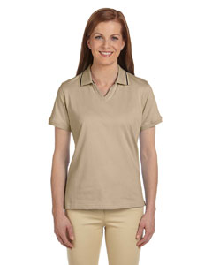Stone/black Women's 5.9 oz. Cotton Jersey Short-Sleeve Polo with Tipping