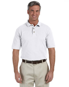 White Men's 6 oz. Ringspun Cotton Piqué Short-Sleeve Polo