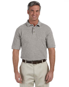 Grey Heather Men's 6 oz. Ringspun Cotton Piqué Short-Sleeve Polo