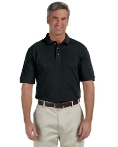Black Men's Tall 6 oz. Ringspun Cotton Piqué Short-Sleeve Polo
