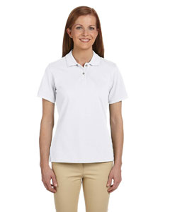White Ladies' 6 oz. Ringspun Cotton Piqué Short-Sleeve Polo