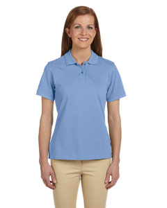 Light College Blue Ladies' 6 oz. Ringspun Cotton Piqué Short-Sleeve Polo