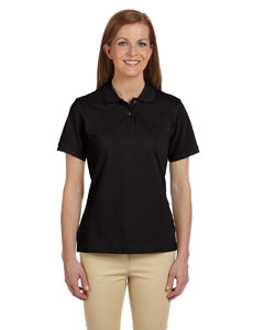 Black Ladies' 6 oz. Ringspun Cotton Piqué Short-Sleeve Polo