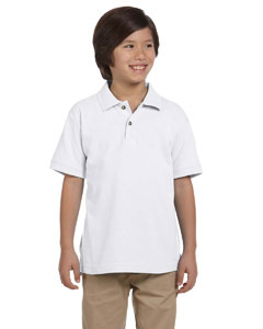 White Youth 6 oz. Ringspun Cotton Piqué Short-Sleeve Polo
