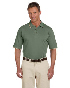 Dill/stone 6 oz. Short-Sleeve Pique Polo with Tipping