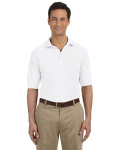 White 5.6 oz. Easy Blend Polo with Pocket