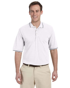 White/navy 5.6 oz. Tipped Easy Blend™ Polo