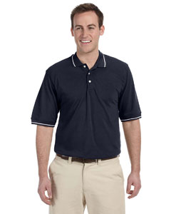 Navy/white 5.6 oz. Tipped Easy Blend™ Polo