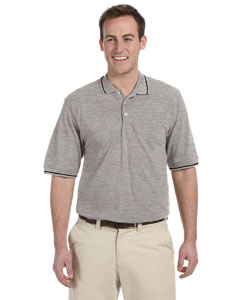 Grey Heather/black 5.6 oz. Tipped Easy Blend™ Polo