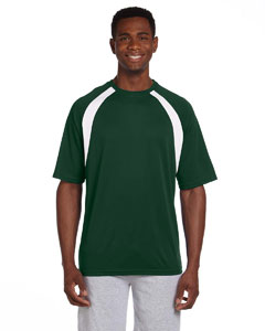 Dark Green/white 4.2 oz. Athletic Sport Colorblock T-Shirt