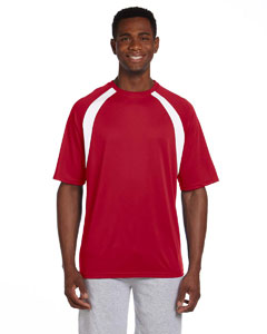 Red/white 4.2 oz. Athletic Sport Colorblock T-Shirt