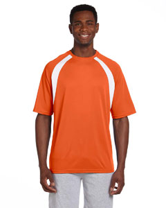 Team Orange/white 4.2 oz. Athletic Sport Colorblock T-Shirt